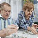 Elderly couple playing a puzzle game