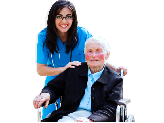 An elderly sitting on a wheelchair with her caregiver behind her